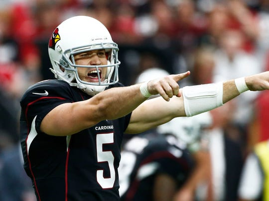 Arizona Cardinals quarterback Drew Stanton calls a play during the game against the San Francisco 49ers on Sunday, Sep. 21, 2014 at University of Phoenix in Glendale, Arizona.