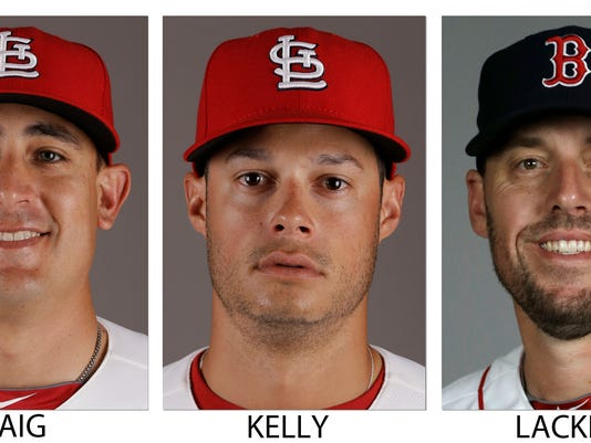 FILE - These 2014 file photos show, from left, St. Louis Cardinals' Allen Craig, Cardinals' Joe Kelly and Boston Red Sox' John Lackey.The Red Sox have traded right-hander Lackey to the Cardinals for right-hander Kelly and outfielder Craig before Thursday's July 31, 2014, deadline, a person with knowledge of the deal said. The person spoke on condition of anonymity because neither club announced the trade. (AP Photo/File)