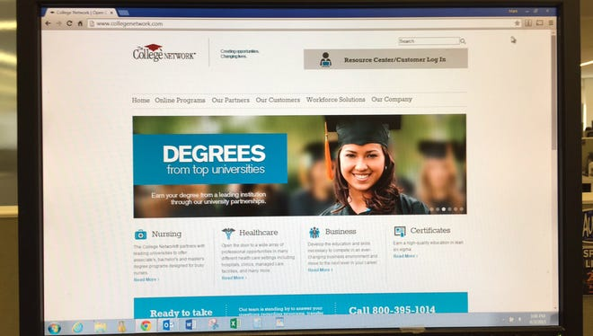 The homepage of The College Network, an Indianapolis company that was sued by the New York  attorney general.