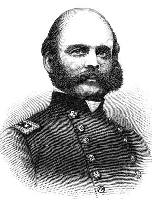 Ambrose Everett Burnside (May 23, 1824 – September 13, 1881) was an American soldier, railroad executive, inventor, industrialist, and politician from Rhode Island, serving as governor and a United States Senator. As a Union Army general in the American Civil War, he conducted successful campaigns in North Carolina and East Tennessee, as well as countering the raids of Confederate General John Hunt Morgan, but suffered disastrous defeats at the Battle of Fredericksburg and Battle of the Crater. His distinctive style of facial hair became known as sideburns, derived from his last name. He was also the first president of the National Rifle Association.