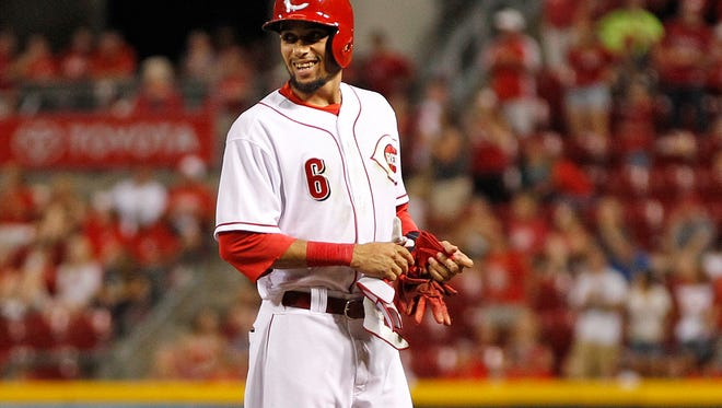 Reds center fielder Billy Hamilton smiles after driving in a run in August.