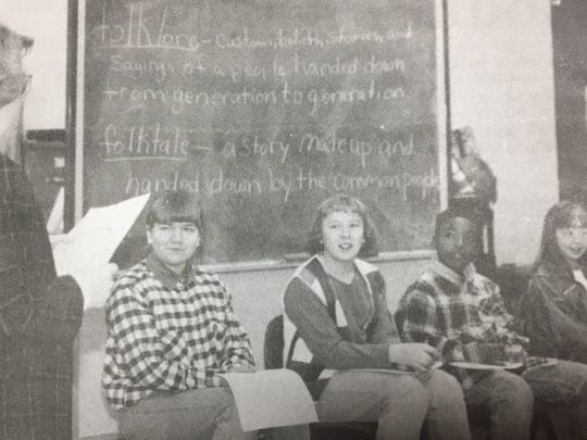 Students participated in a county-wide spelling bee the week of January 31st, 1996. From left is moderator Elizabeth Mingo, Sarah Woodring, Union County Middle School; Amy Coomes, Uniontown Elementary; Stacey Milan, Morganfield Elementary; and Lauren Omer, Sturgis Elementary.