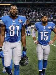 The Detroit Lions' Calvin Johnson and Golden Tate in 2015.