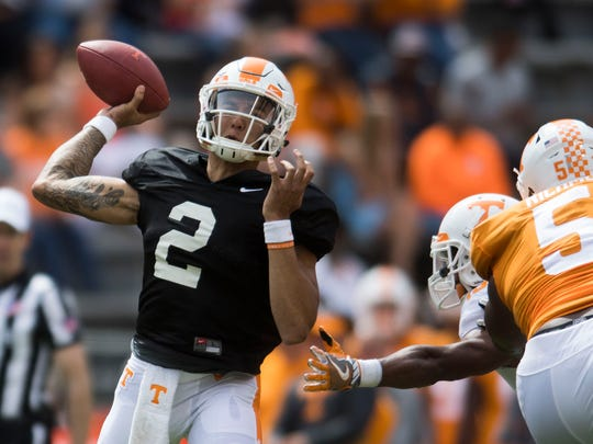 Tennessee quarterback Jarrett Guarantano (2) throw a pass during the Tennessee Orange & White spring game at Neyland Stadium at University of Tennessee Saturday, April 21, 2018.