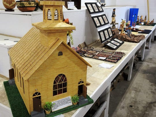 A replica of the former Keene Presbyterian Church by Sue Adams of Fresno constructed with 15,300 matchsticks was an entry in the senior creative division of the hobby show at the 2018 Coshocton County Fair.