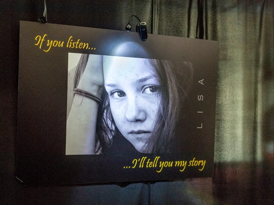 Students visit The Lisa Project in 10 at Mt. Whitney High School on Wednesday, April 11, 2018. The Lisa Project in 10, an abbreviated version of the original, is a multi-sensory exhibit with audible and visual examples of child abuse realities. Next year the exhibit will travel to a different high school in the district.