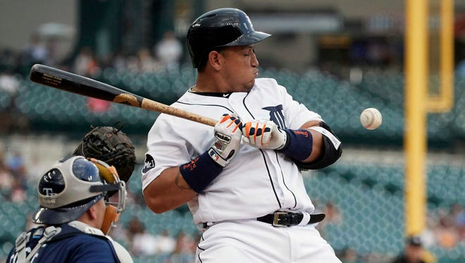 Tigers first baseman Miguel Cabrera struggled uncharacteristically at the plate in 2017, going 23 games without a home run from July 29-Aug. 25.