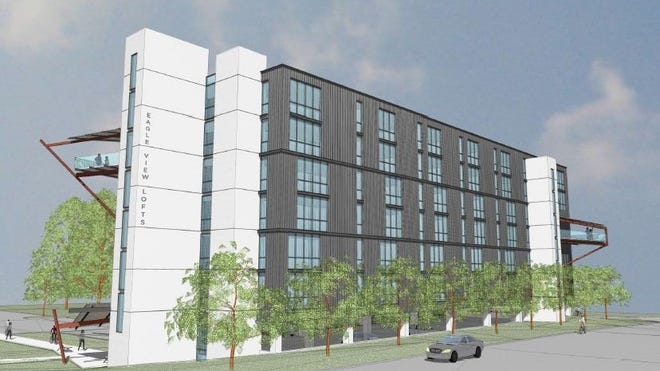 Eagle View Lofts would feature 120 apartments along the Des Moines River on the southern end of the East Village.