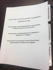 The Delaware Access to Justice Commission released a report of findings based on two years of investigations into the ability of poor people to fairly use the court system.