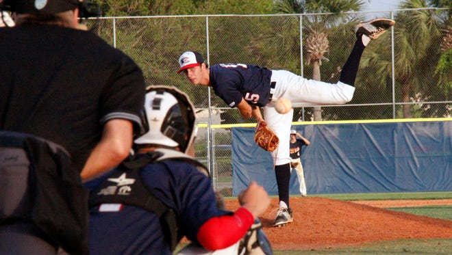 Estero's Nate Gillen delivers a pitch against Barron Collier in the Class 6A-District 12 title game during his sophomore year in 2015. Gillen, an FGCU recruit and pro prospect, is the ace of Estero's staff.