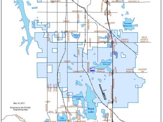 Fort Collins-Loveland Water District boundaries.