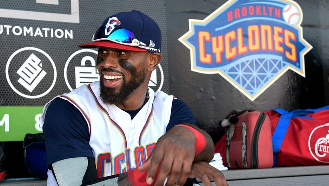Brooklyn Cyclones Jose Reyes before a minor league game Sunday against the Hudson Valley Renegades in New York. Reyes signed a minor league contract with the New York Mets on Saturday. (AP Photo/Kathy Kmonicek)