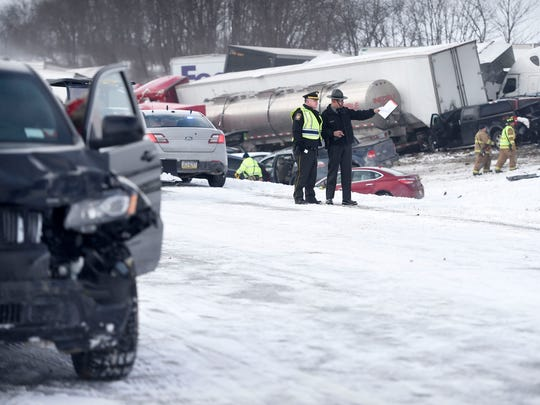 Interstate 78 was closed just west of the 78/22 interchange in Bethel Township, Lebanon County, PA. Saturday morning, Feb. 13, after a multiple-vehicle accident shut down both east and west lanes. It was reported that 15 were reported trapped, with three fatalities. It is estimated 30-50 vehicles were involved in the accident.