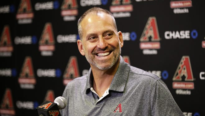Arizona Diamondbacks manager Torey Lovullo reacts after being named the 2017 National League Manager of the Year during a press conference on Nov. 14, 2017 at Chase Field in Phoenix, Ariz.