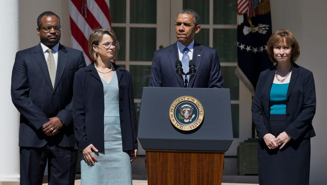 In June, President Obama announces the nominations of, from left, Robert Wilkins, Cornelia Pillard and Patricia Ann Millet to the U.S. Court of Appeals for the District of Columbia Circuit.