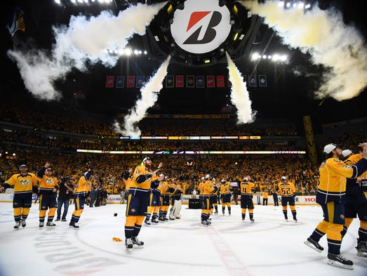 Game 6: Nashville Predators players wave to the fans