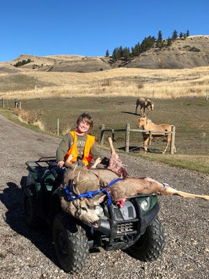 Jay McCullough, age 12, nabbed a 4 point mule deer in the Highwood Mountains