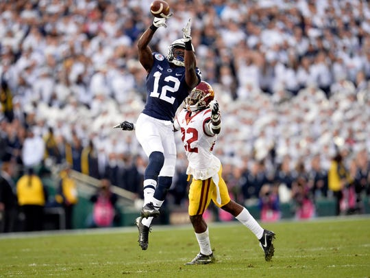Penn State wide receiver Chris Godwin out of Middletown High catches a pass against Southern Cal in the 2017 Rose Bowl.