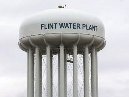 Flint Water Plant storage tower.