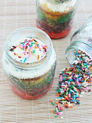 Bake up this Rainbow Cake in a Jar from the food blog