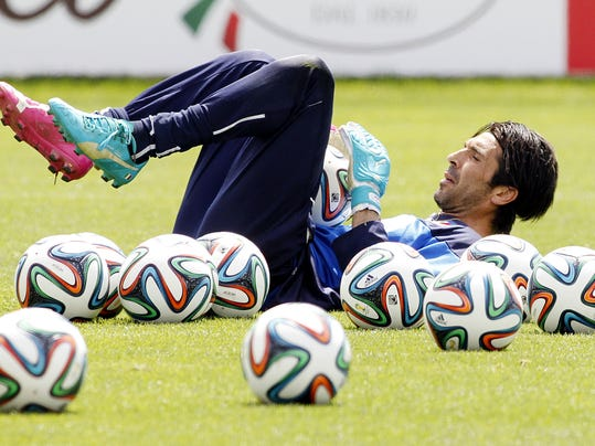 Italy goalkeeper Gianluigi Buffon participates in a team training session at Coverciano training grounds, in Florence, Monday, May 26, 2014. In Brazil, Italy is in Group D with England, Uruguay and Costa Rica. (AP Photo/Fabrizio Giovannozzi)
