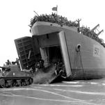 French soldiers driving American tanks from an LST onto a beach somewhere in Normandy on Aug. 15, 1944. The tanks were later driven along the Normandy beach by the same soldiers.