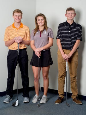 Beech junior Michael Barnard (left), Station Camp sophomore Ellie Bloodworth (center) and Hendersonville junior Bryce Lewis headline this year's All-County Golf Teams.
