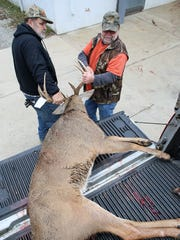 Larry Friesel, left, helps John Singrey of Fredericktown pull his buck from the bed of his truck Monday at Oilers Meat Processing in Utica.