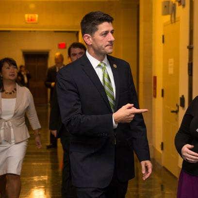Rep. Paul Ryan, R- Wis., arrives for a meeting on Capitol Hill on Oct. 8, 2015.