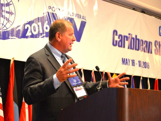 Peter Richards, chief executive officer of Port Canaveral-based GT USA, speaks at the Caribbean Shipping Association conference at the Hilton Cocoa Beach Oceanfront Hotel.