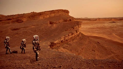 "This image released by National Geographic shows a scene from the series, ""Mars,"" premiering Monday at 9 p.m. ET on the National Geographic channel. The series brought together scientific consultants, director Everardo Gout, producer Justin Wilkes as showrunner, and executive producers Ron Howard and Brian Grazer."