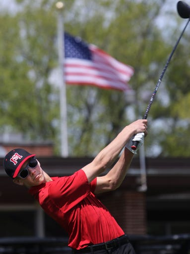 South Milwaukee's Conrad Shilling tees off during his varsity teams Woodland Conference Meet held in Currie Park Thursday, May 12, 2016, in Wauwatosa, Wisconsin.