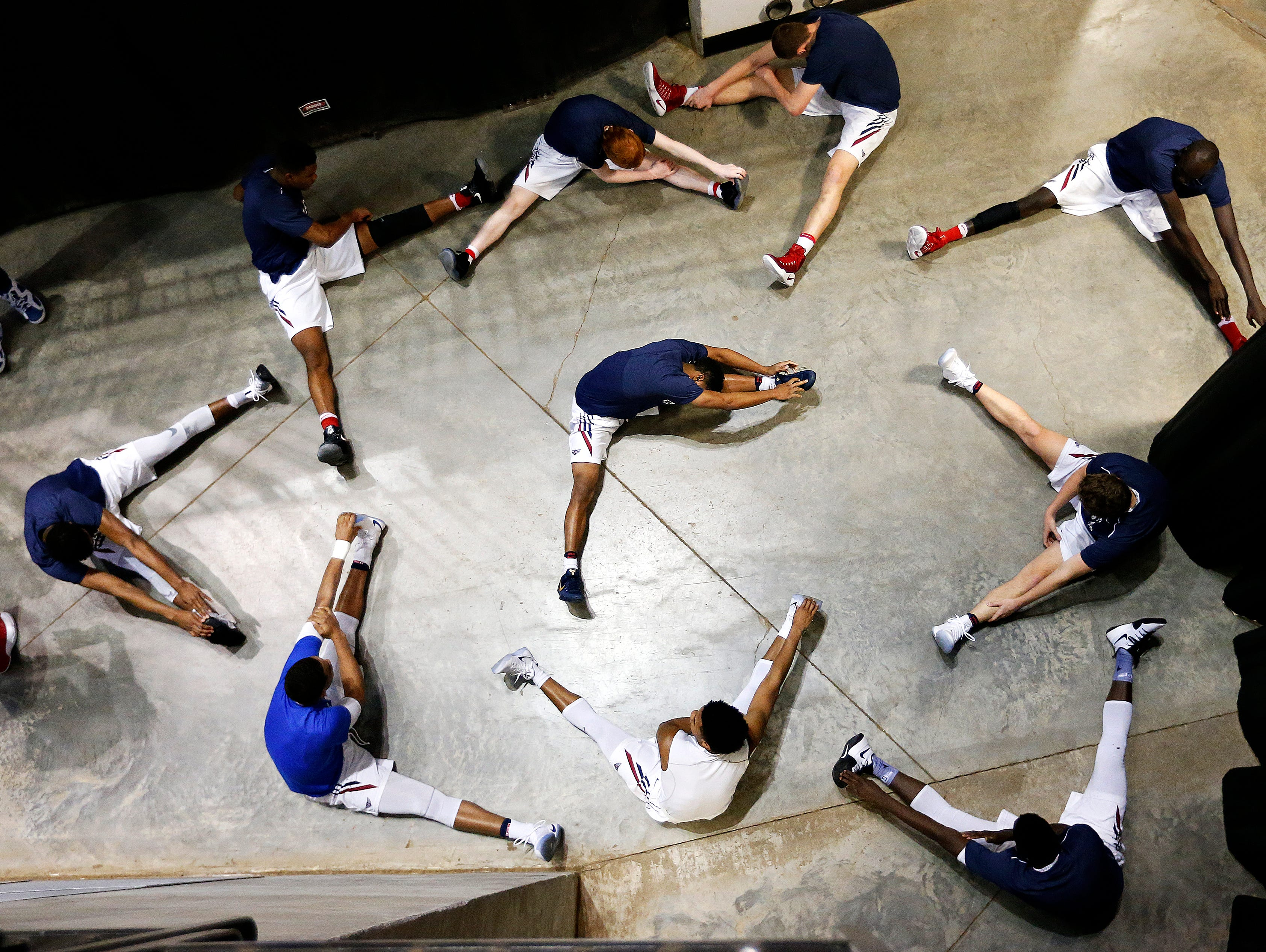 Findlay Prep Pilots (Las Vegas, Nev.) players warm up prior to the start of the 2017 Bass Pro Tournament of Champions high school basketball game between the Findlay Prep Pilots (Las Vegas, Nev.) and the Madison Prep Academy Chargers (Baton Rouge, La.) at JQH Arena in Springfield, Mo. on Jan. 12, 2017. The Findlay Prep Pilots won the game 77-50.