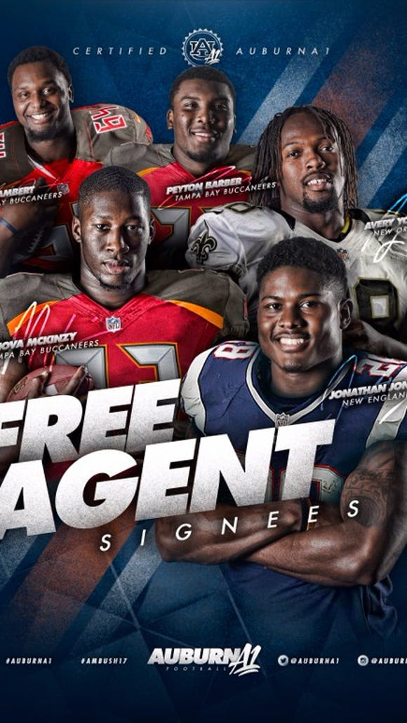At least five former Auburn players (Jonathan Jones, Avery Young, Casanova McKinzy, Peyton Barber and Devonte Lambert) have been signed to undrafted free agent deals this week.