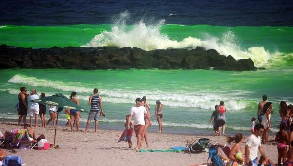 The Atlantic Ocean last year after the Allenhurst Beach Club's annual Dye the Ocean Green event marking the end of summer.