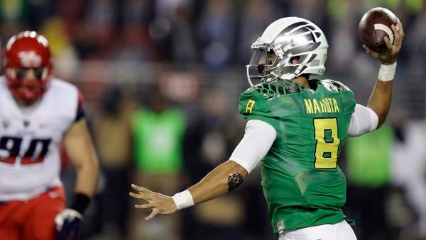 Might Jets fans soon see Oregon quarterback Marcus Mariota slinging the football in Jets green and white?