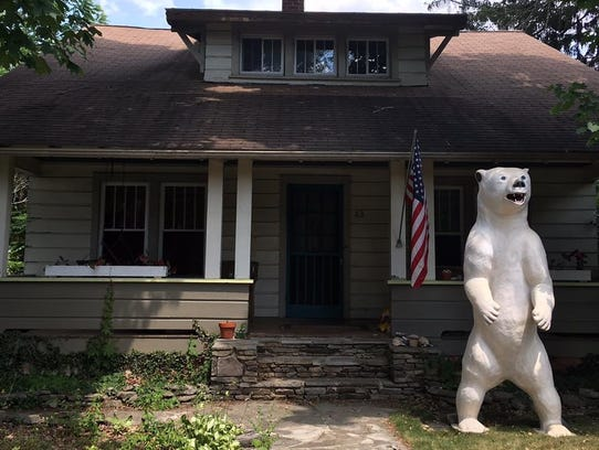 The former Polar Bar mascot stands guard outside owner
