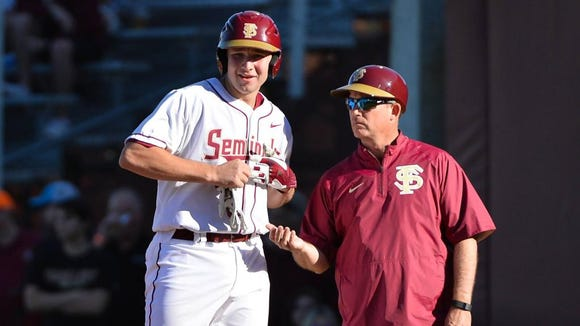 Smoky Mountain alum Cal Raleigh, left, is a sophomore catcher at Florida State.