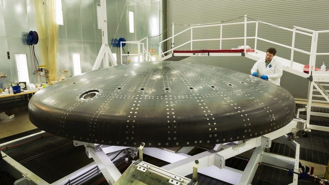 Lockheed Martin last week shipped to Kennedy Space Center the heat shield structure for an Orion exploration capsule being assembled for an unmanned test flight around the moon in late 2018.