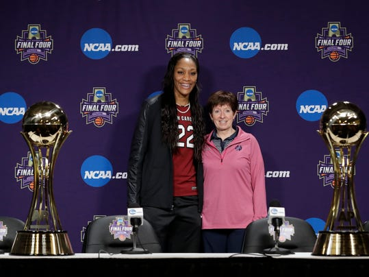 South Carolina's A'ja Wilson, The Associated Press' women's college basketball Player of the Year, and Notre Dame coach Muffet McGraw, AP's women's basketball Coach of the Year, pose at the NCAA women's Final Four college basketball tournament Thursday, March 29, 2018, in Columbus, Ohio. (AP Photo/Darron Cummings)