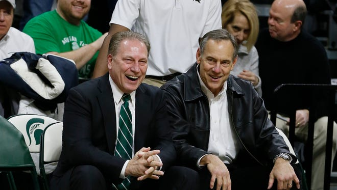 Michigan State basketball coach Tom Izzo and football coach Mark Dantonio