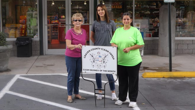 September's recipient of the Craven County Clean Sweep Business of the Month is Fuel Warehouse #11 on Glenburnie Road. Jennifer Byrd and her dedicated staff of 4 makes sure that the area around the station is always free of litter. Pictured, Pat Sager, Craven County Clean Sweep chairperson, Rachel Hoffman, cashier/clerk, Jennifer Byrd, manager.