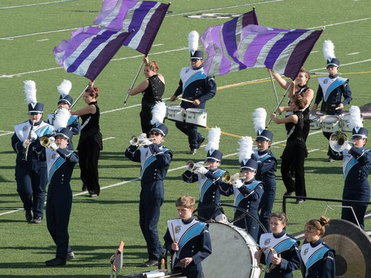 Lake Forest High School Marching Band performs at the Tournament of Bands Chapter 9 Championships at Appoquinimink High School in Middletown.