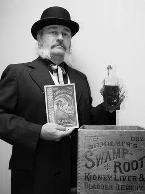 John Darrow plays Swamp Root millionaire Willis Sharpe Kilmer on the Spirits of Binghamton Past tour.