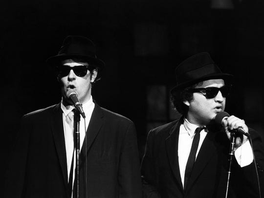 """Dan Aykroyd, left and John Belushi as the Blues Brothers in a 1978 episode of """"Saturday Night Live."""""""