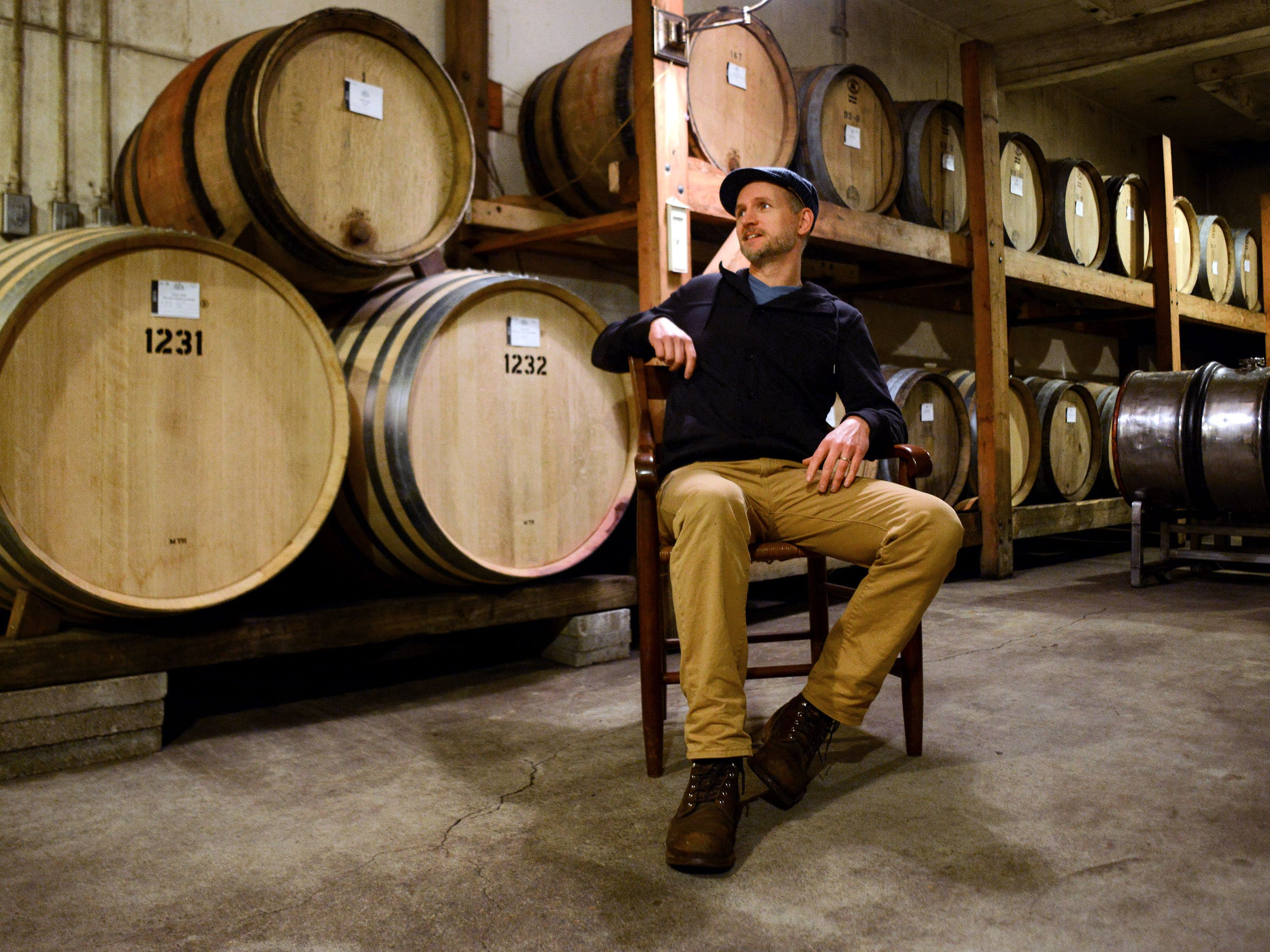 Jason Lett inside the cellar at The Eyrie Vineyards