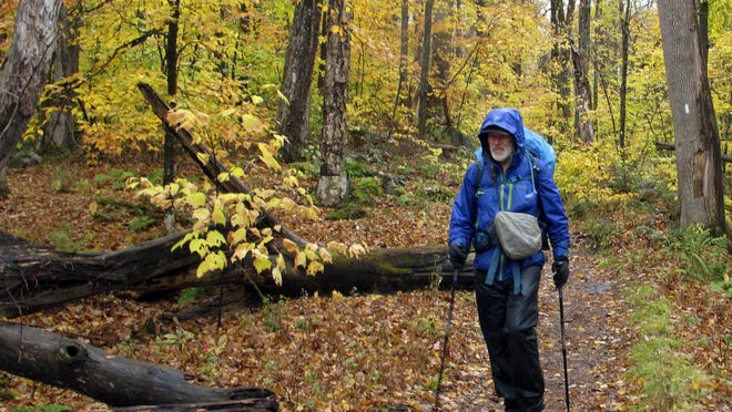 Artist Rob Mullen walks down Long Trail, the country's oldest long distance trail, in Manchester, Vt., on Tuesday, Oct. 13, 2020. Mullen was nearing the end of his 272-mile month-long hike down the length of Vermont, painting along the way.