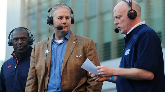 Auburn athletic director Jay Jacobs on the radio broadcast with play-by-play broadcaster Rod Blamblett. Auburn announced a 10-year, $120 million deal with Fox Sports for its radio broadcast rights.