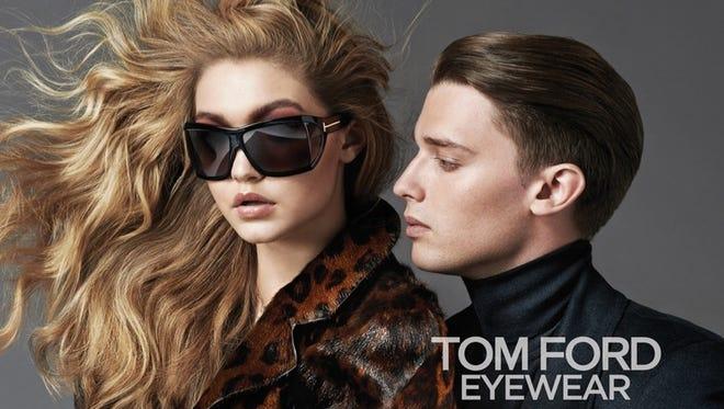 Gigi Hadid and Patrick Schwarzenegger in a Tom Ford eyewear ad.