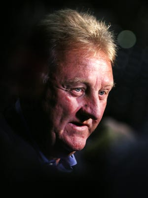Indiana Pacers President Larry Bird answers questions from the news media at Pacers Media Day on Monday, September 28, 2015 at  Bankers Life Fieldhouse in Indianapolis.